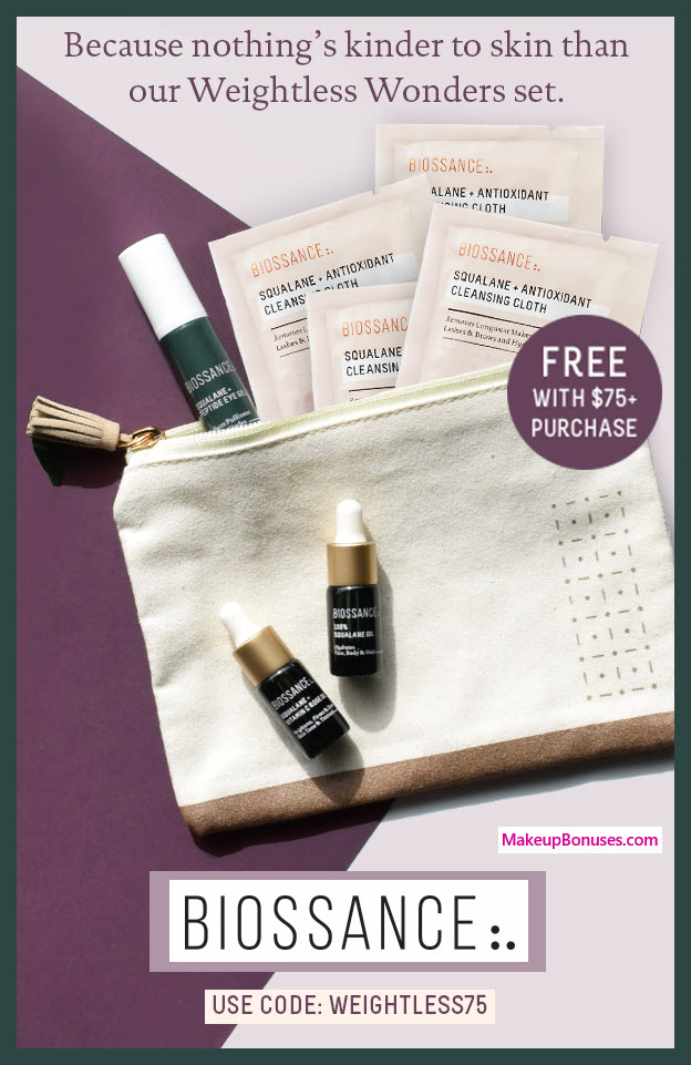 Receive a free 8-pc gift with $75 Biossance purchase