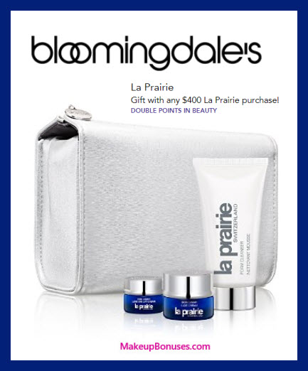 Receive a free 4-pc gift with $400 La Prairie purchase