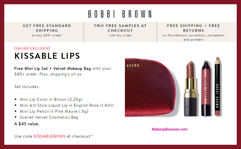 Receive a free 4-pc gift with $85 Bobbi Brown purchase