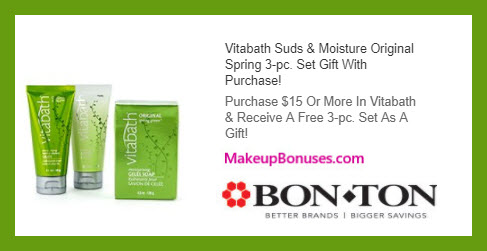 Receive a free 3-pc gift with $15 Vitabath purchase