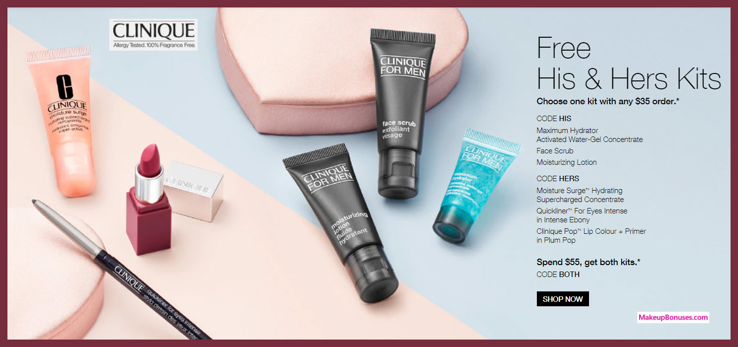 Receive your choice of 3-pc gift with $35 Clinique purchase