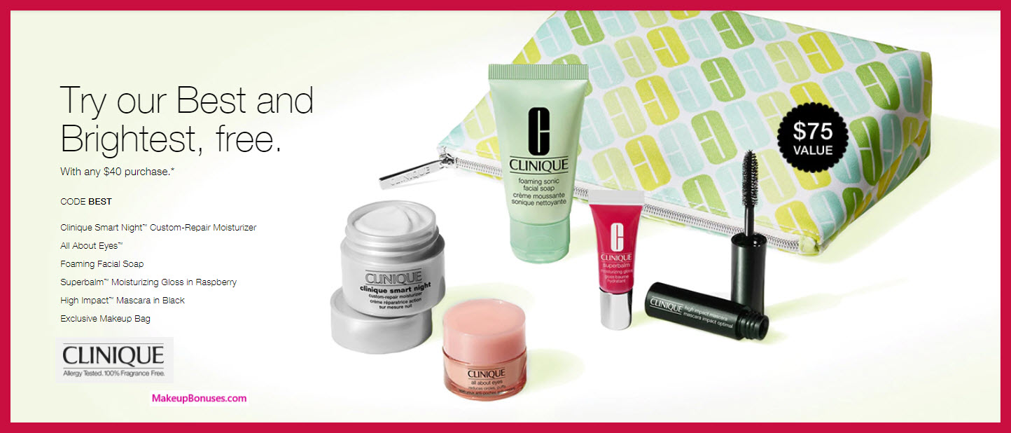 Receive a free 6-pc gift with $40 Clinique purchase