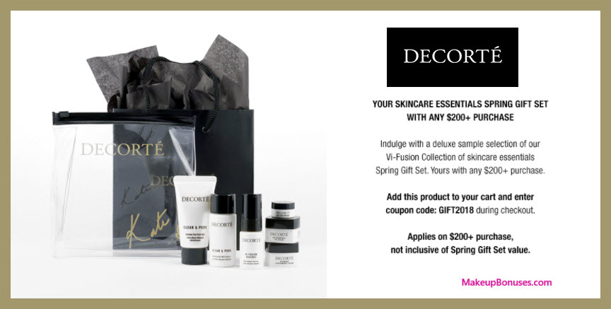 Receive a free 5-pc gift with $200 Decorté purchase