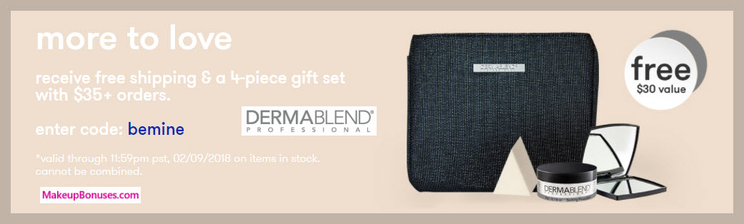 Receive a free 4-pc gift with $35 Dermablend purchase