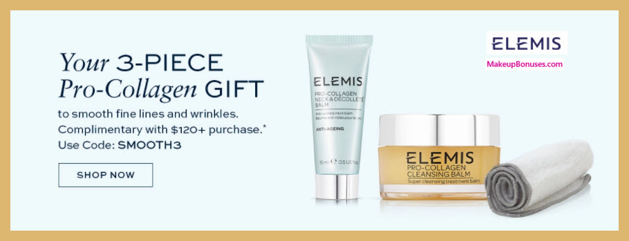 Receive a free 3-pc gift with $120 Elemis purchase