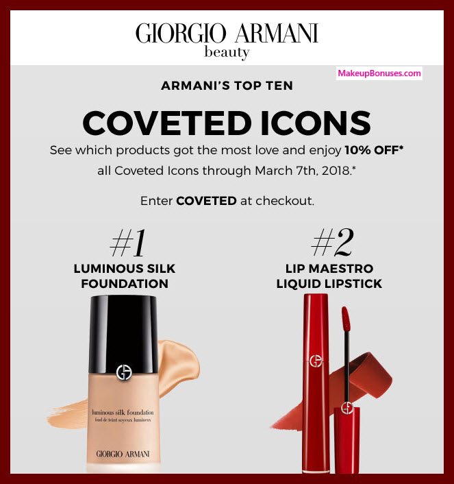 Giorgio Armani Discount on Most Coveted Products - MakeupBonuses.com