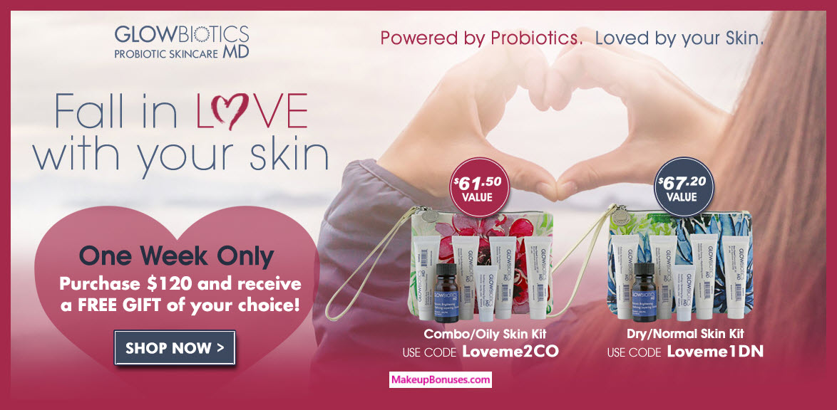 Receive your choice of 7-pc gift with $120 GlowBiotics MD purchase