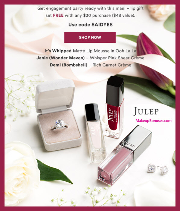 Receive a free 3-pc gift with $30 Julep purchase