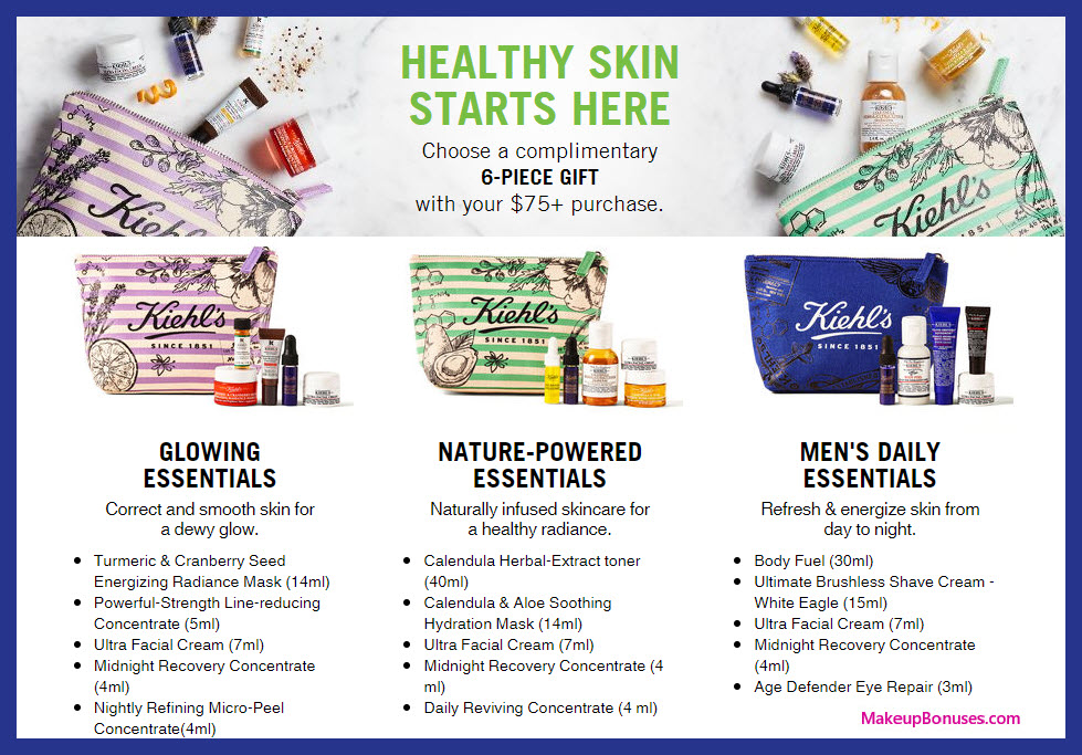 Receive your choice of 6-pc gift with $75 Kiehl's purchase