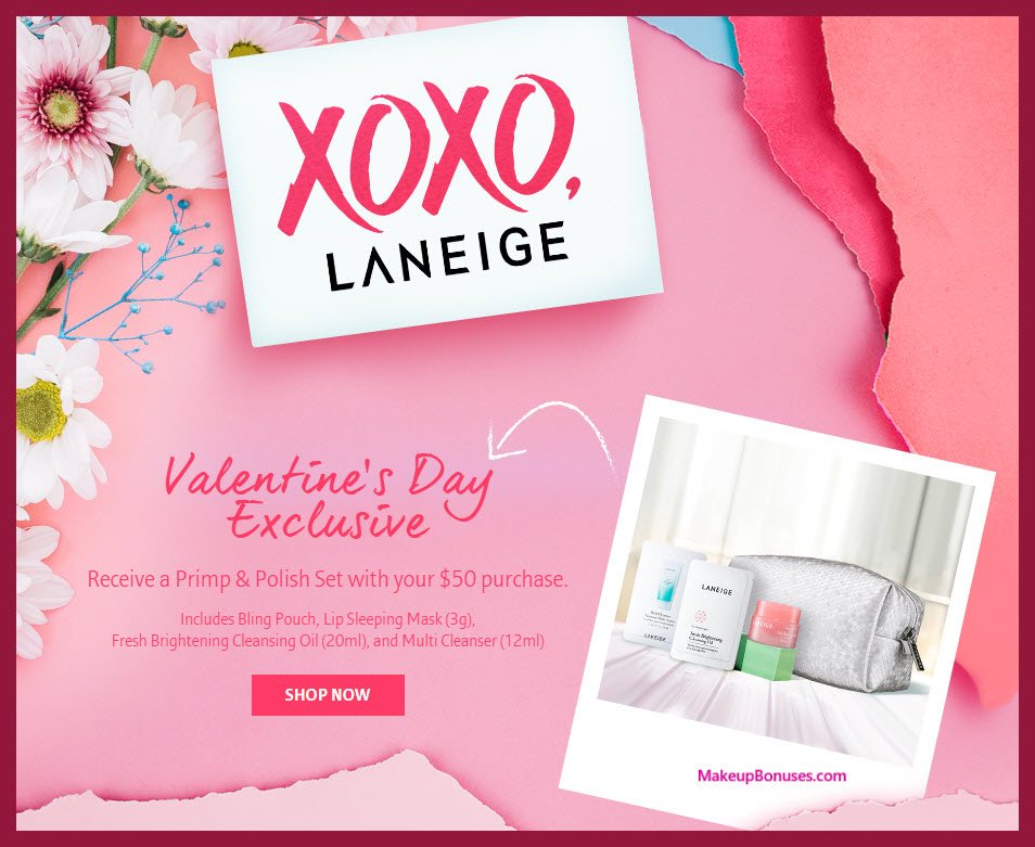 Receive a free 4-pc gift with $50 LANEIGE purchase