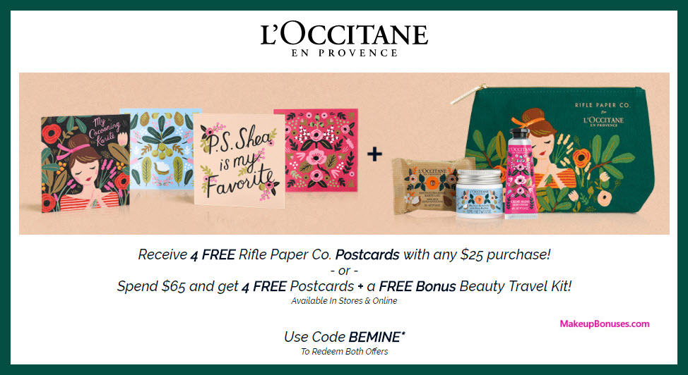 Receive a free 4-pc gift with $25 L'Occitane purchase