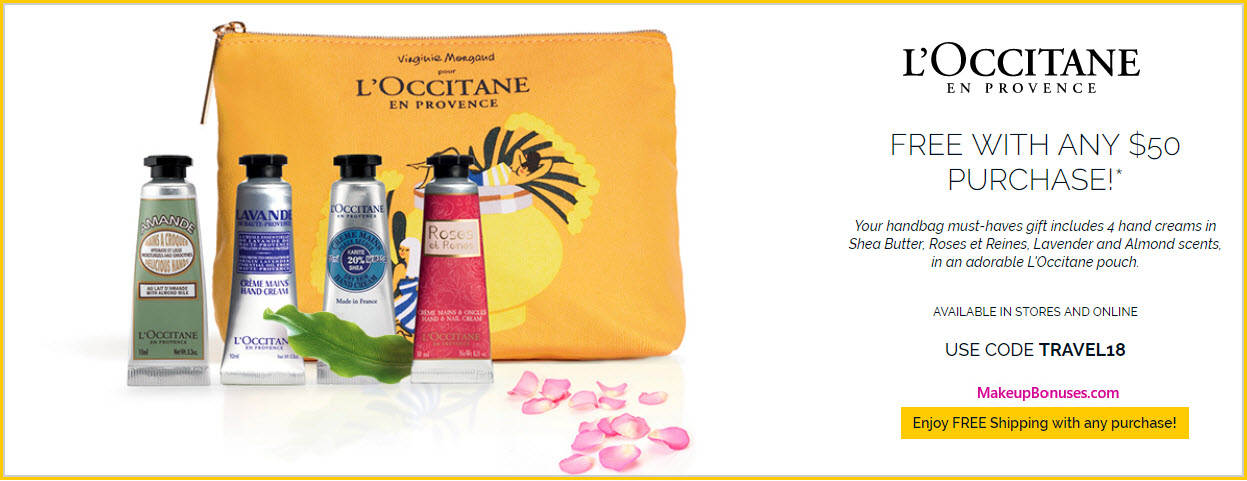 Receive a free 5-pc gift with $50 L'Occitane purchase