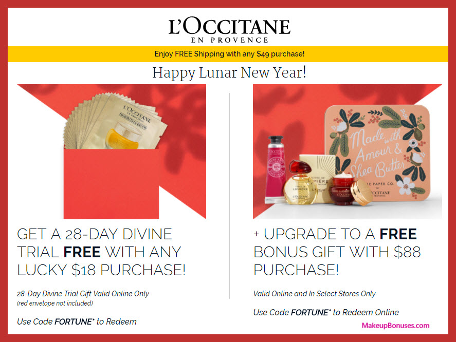 Receive a free 32-pc gift with $88 L'Occitane purchase
