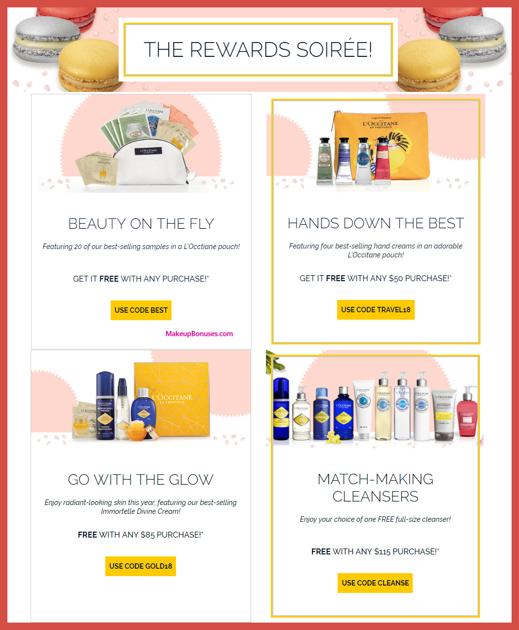 Receive your choice of 4-pc gift with $115 L'Occitane purchase