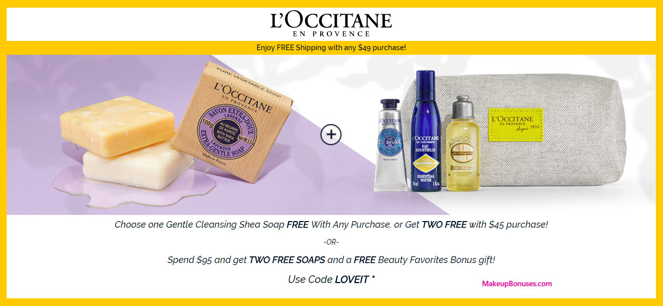 Receive a free 6-pc gift with $95 L'Occitane purchase