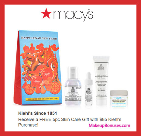 Receive a free 5-pc gift with $85 Kiehl's purchase