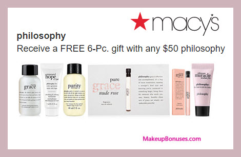 Receive a free 6-pc gift with $50 philosophy purchase