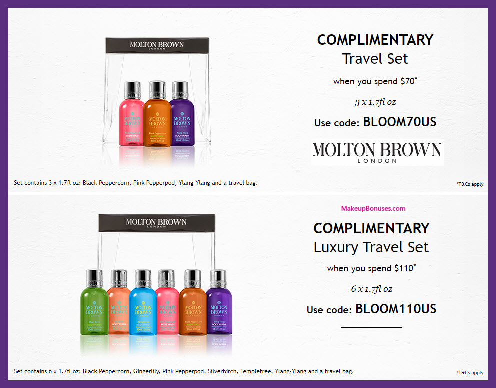 Receive a free 4-pc gift with $70 Molton Brown purchase