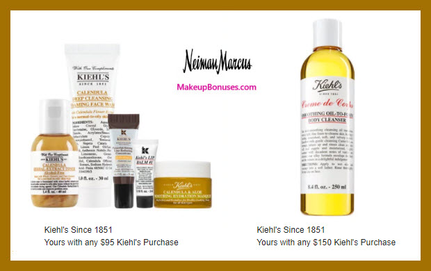 Receive a free 5-pc gift with $95 Kiehl's purchase