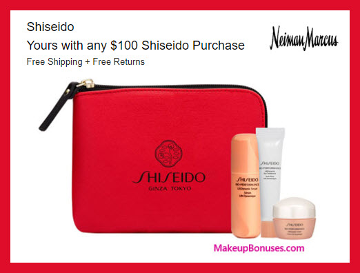 Receive a free 3-pc gift with $100 Shiseido purchase