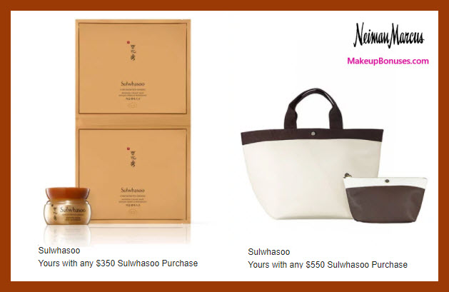 Receive a free 4-pc gift with $550 Sulwhasoo purchase