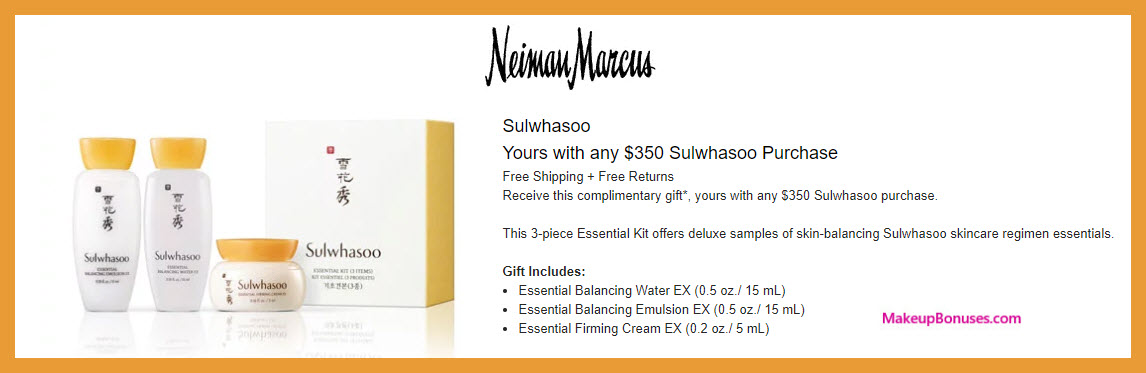 Receive a free 3-pc gift with $350 Sulwhasoo purchase