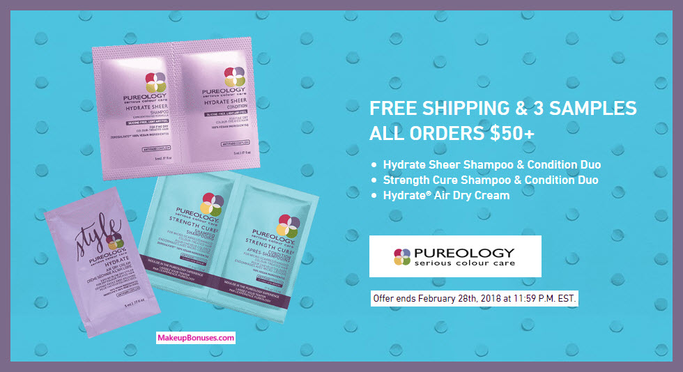Receive a free 3-pc gift with $50 Pureology purchase