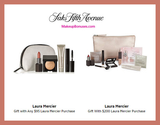 Receive a free 5-pc gift with $95 Laura Mercier purchase