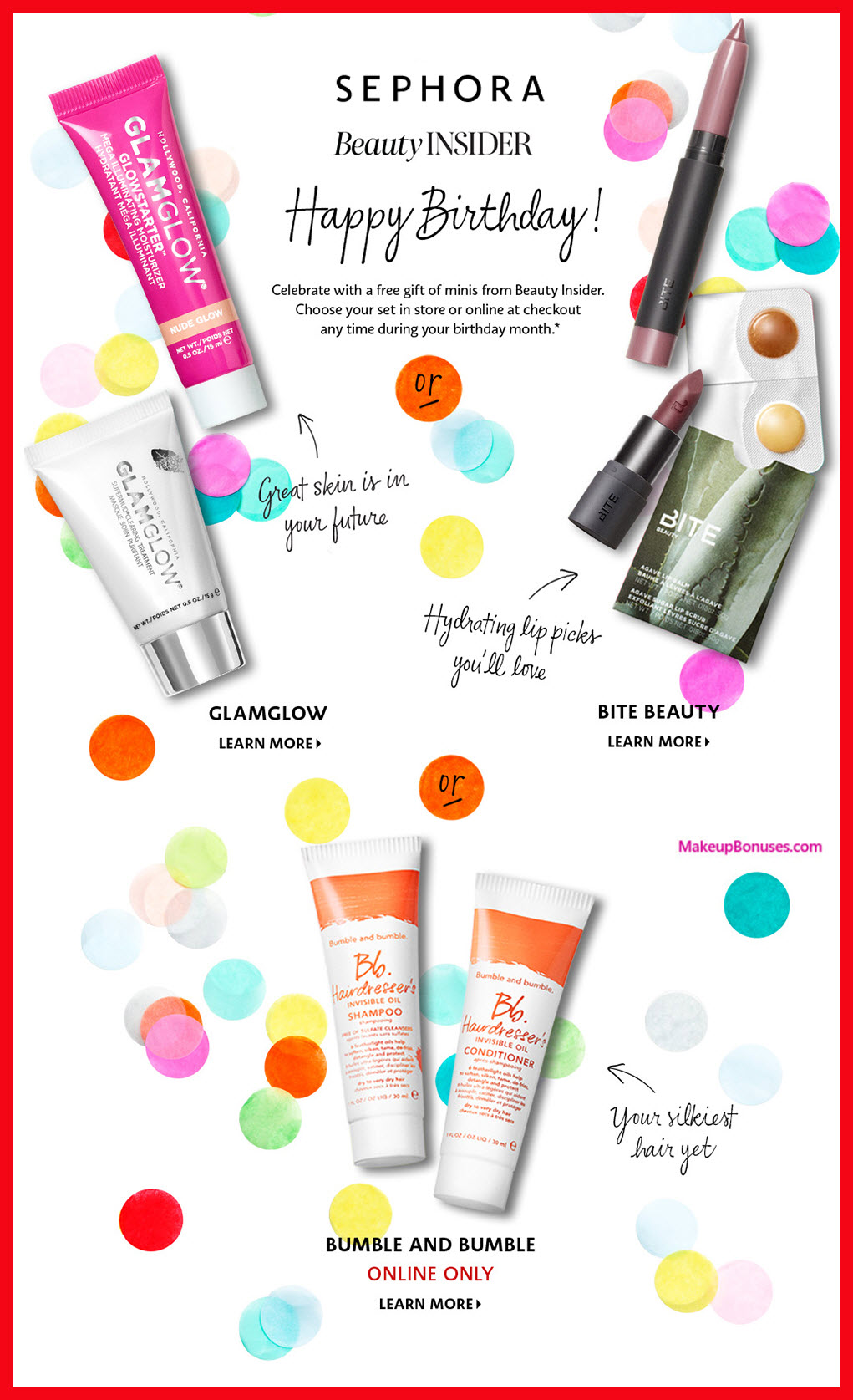 SEPHORA Birthday Gift MakeupBonuses.com 2018