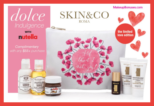 Receive a free 7-pc gift with $55 Skin and Co Roma purchase