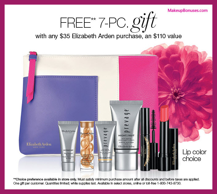 Receive a free 7-pc gift with $35 Elizabeth Arden purchase