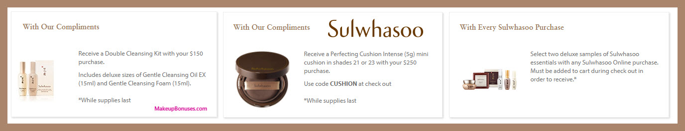 Receive a free 3-pc gift with $250 Sulwhasoo purchase