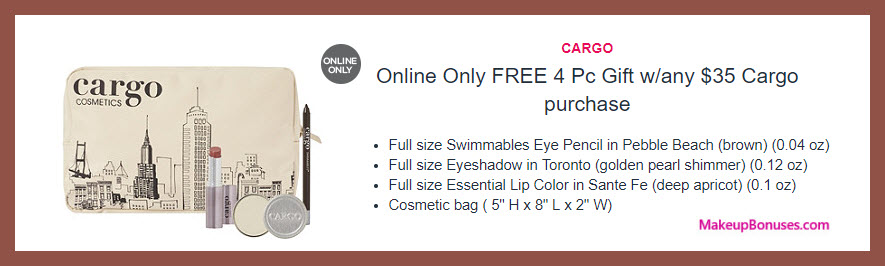 Receive a free 4-pc gift with $35 Cargo Cosmetics purchase