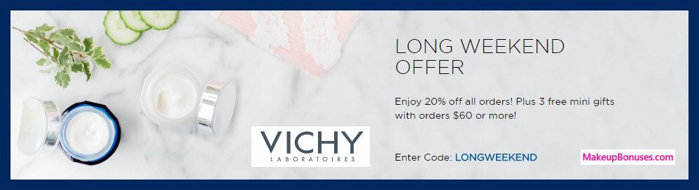 vichy 3 piece free bonus gift 20 off makeup bonuses. Black Bedroom Furniture Sets. Home Design Ideas