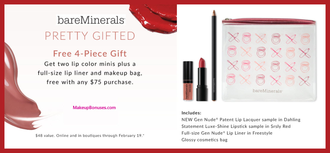 Receive a free 4-pc gift with $75 bareMinerals purchase