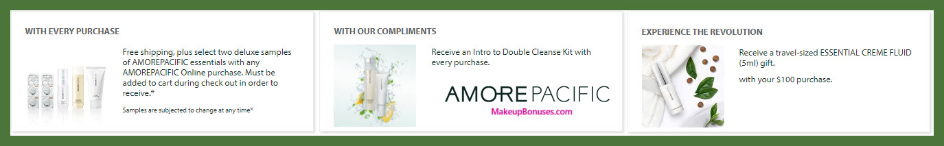 Receive a free 5-pc gift with $100 AMOREPACIFIC purchase
