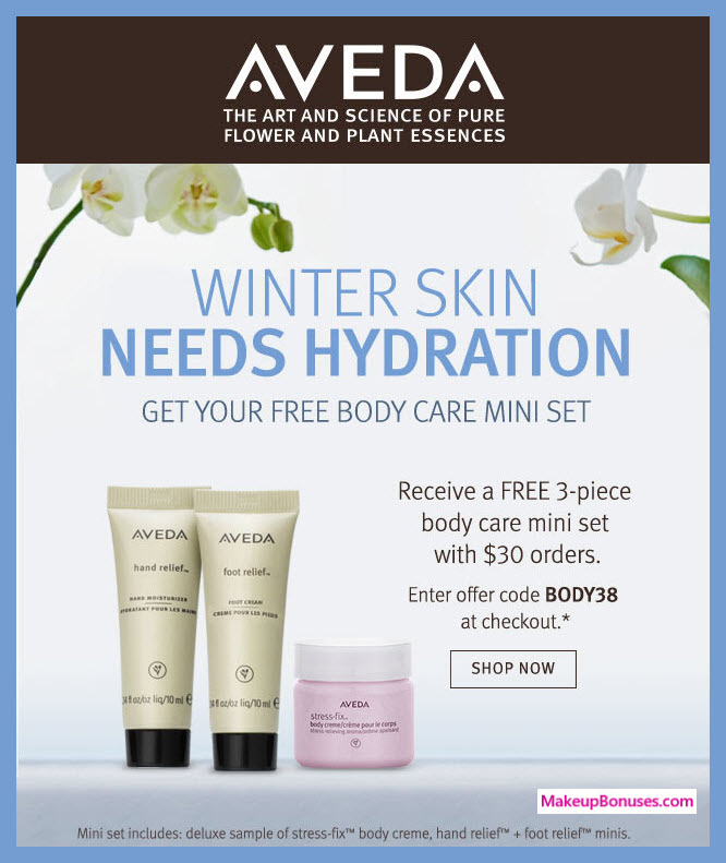 Receive a free 3-pc gift with $30 Aveda purchase