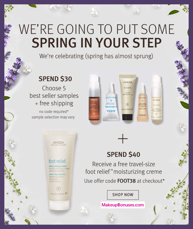 Receive your choice of 5-pc gift with $35 Aveda purchase