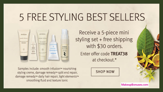 Receive a free 5-pc gift with $30 Aveda purchase
