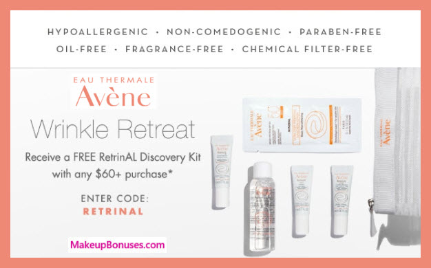 Receive a free 5-pc gift with $60 Avène purchase