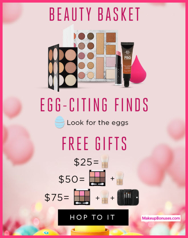 Receive a free 3-pc gift with $75 BH Cosmetics purchase