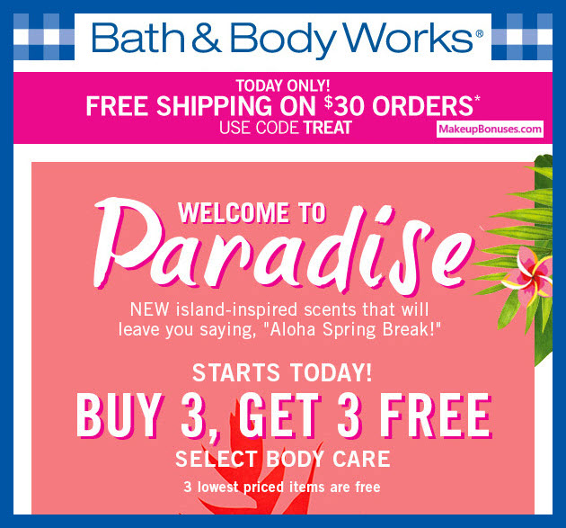Receive a free 3-pc gift with 3 Select Body Care Product purchase