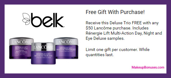 Receive a free 3-pc gift with $50 Lancôme purchase