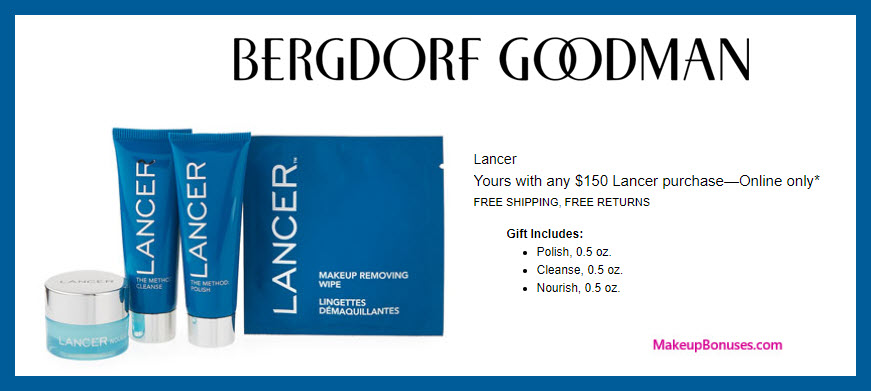 Receive a free 3-pc gift with $150 LANCER purchase