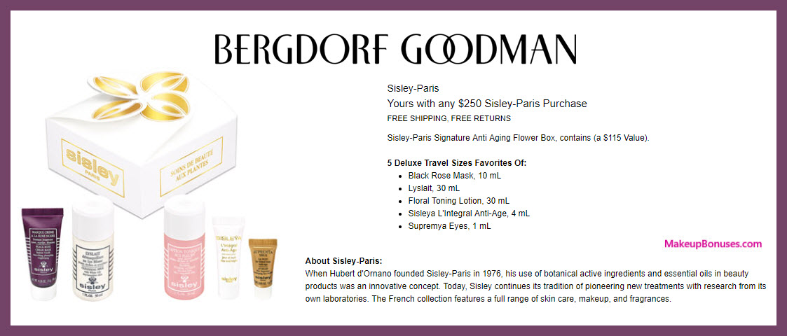 Receive a free 5-pc gift with $250 Sisley Paris purchase