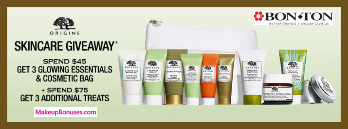 Receive a free 4-pc gift with $45 Origins purchase