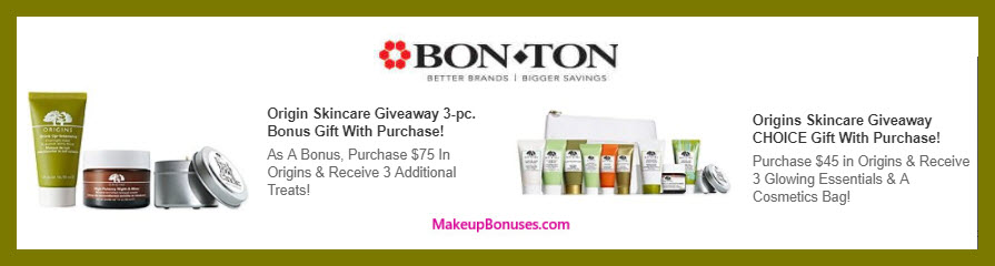 Receive a free 7-pc gift with $75 Origins purchase