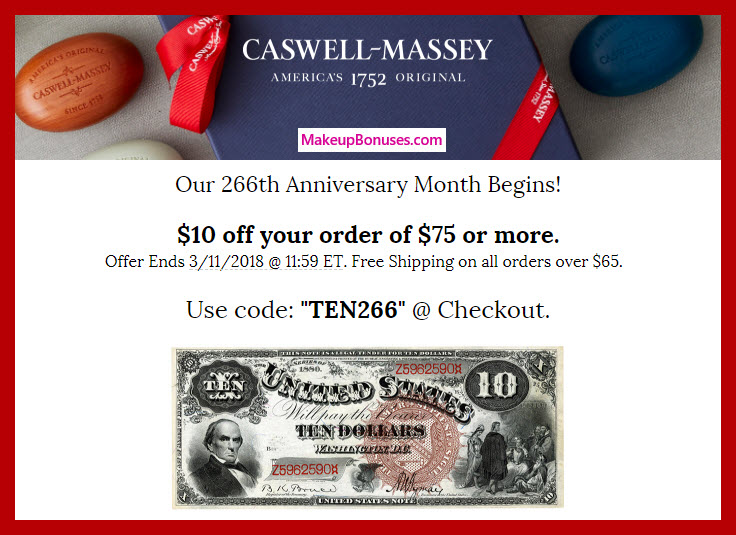 Caswell-Massey Anniversary Discount - MakeupBonuses.com