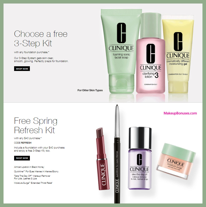 Receive a free 4-pc gift with $40 Clinique purchase