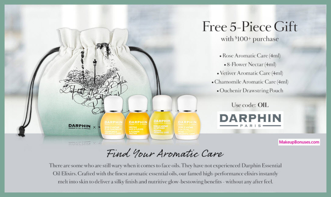 Receive a free 5-pc gift with $100 Darphin purchase